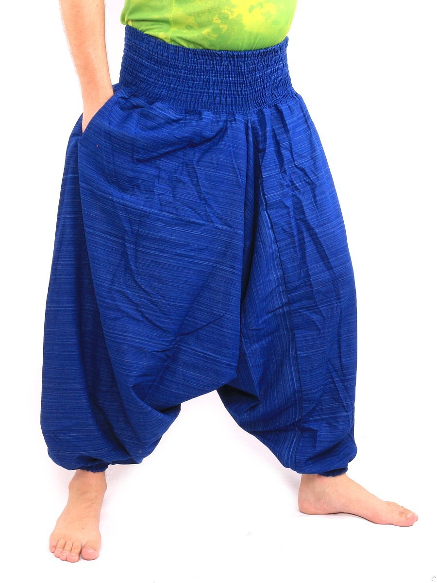 Aladdin Harem Pants Low Crotch One Size Cotton Mix Blue