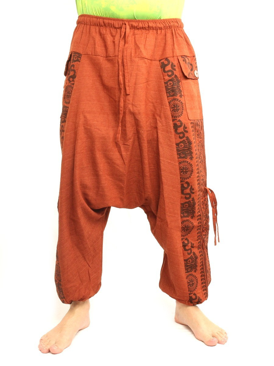 Harem Pants Boho Hippie Cultural Pattern Print Cotton One Size Orange