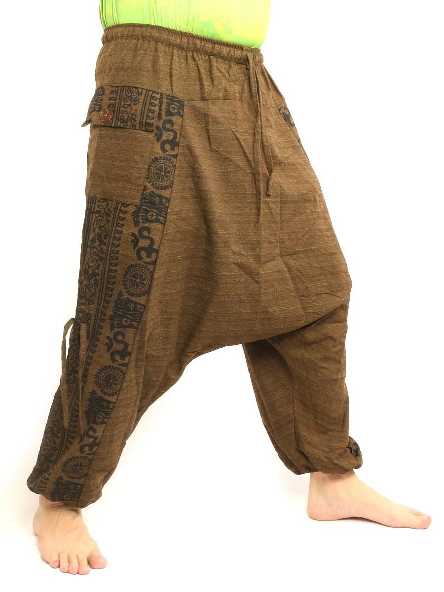 Harem Pants Boho Hippie Cultural Pattern Print Cotton One Size Brown