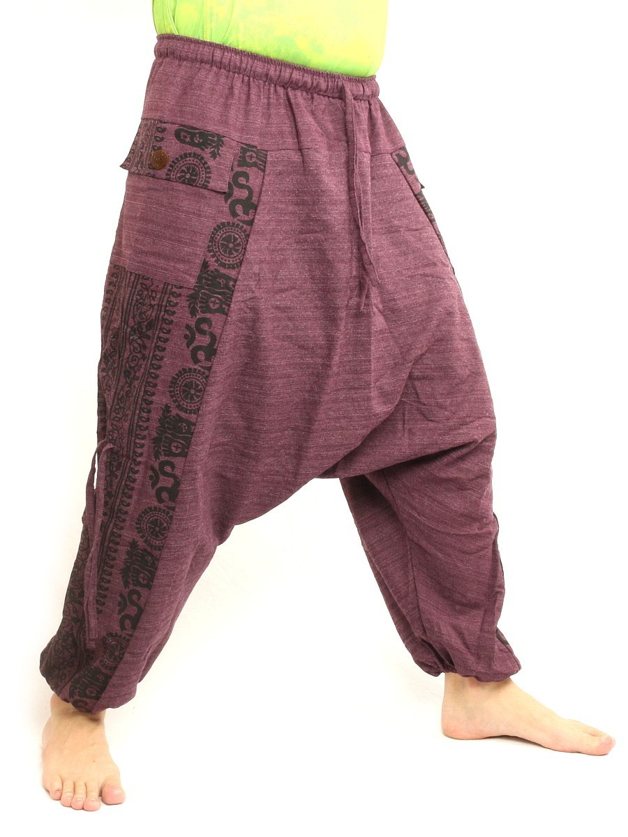 Harem Pants Boho Hippie Cultural Pattern Print Cotton One Size Purple