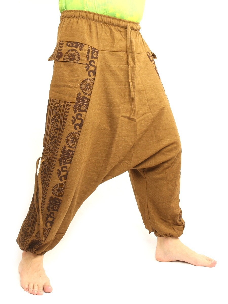 Harem Pants Boho Hippie Cultural Pattern Print Cotton One Size Beige