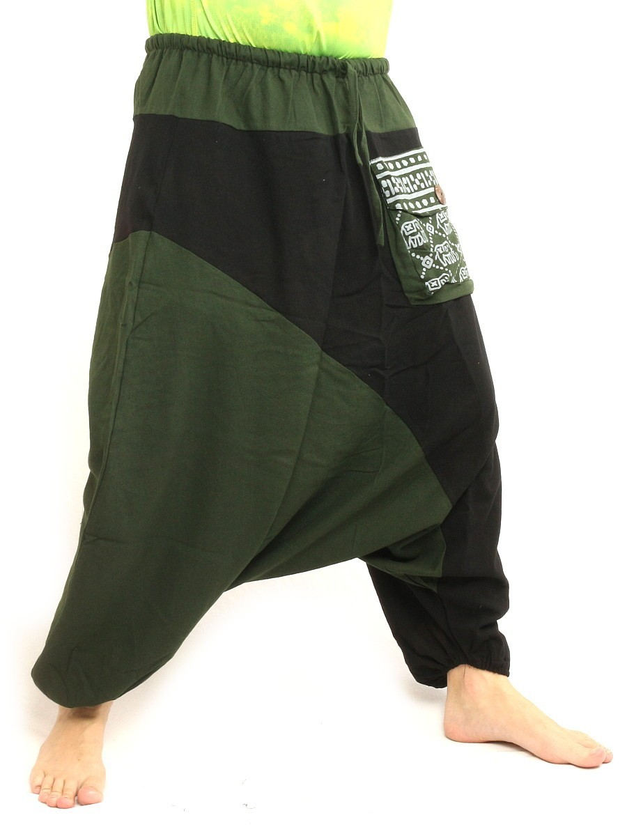 Aladdin Baggy Pants With Large Side Pocket And Elephant Print One Size Olive Green Black