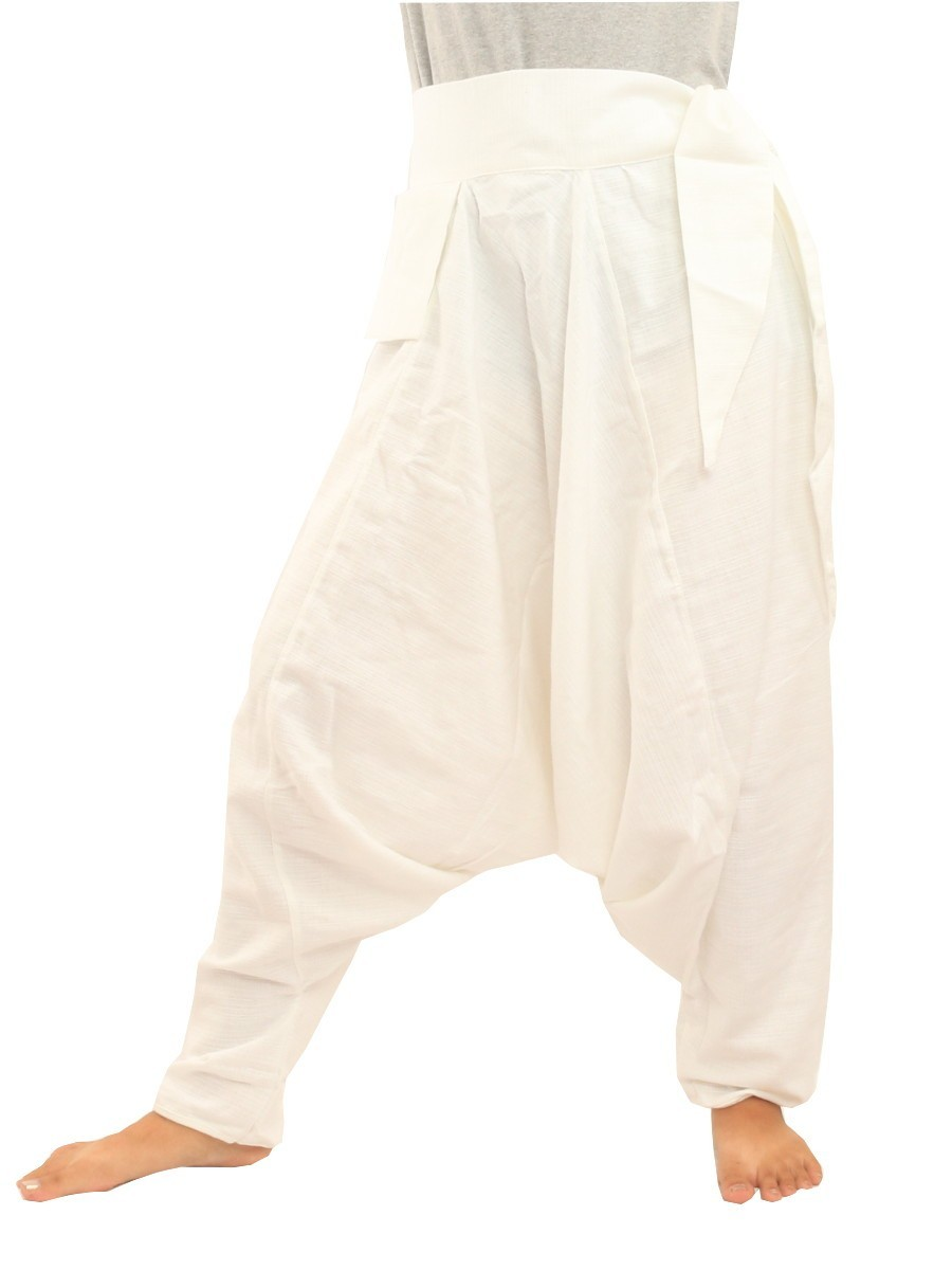 Low Cut Aladdin Harem Pants with Side Pocket    White