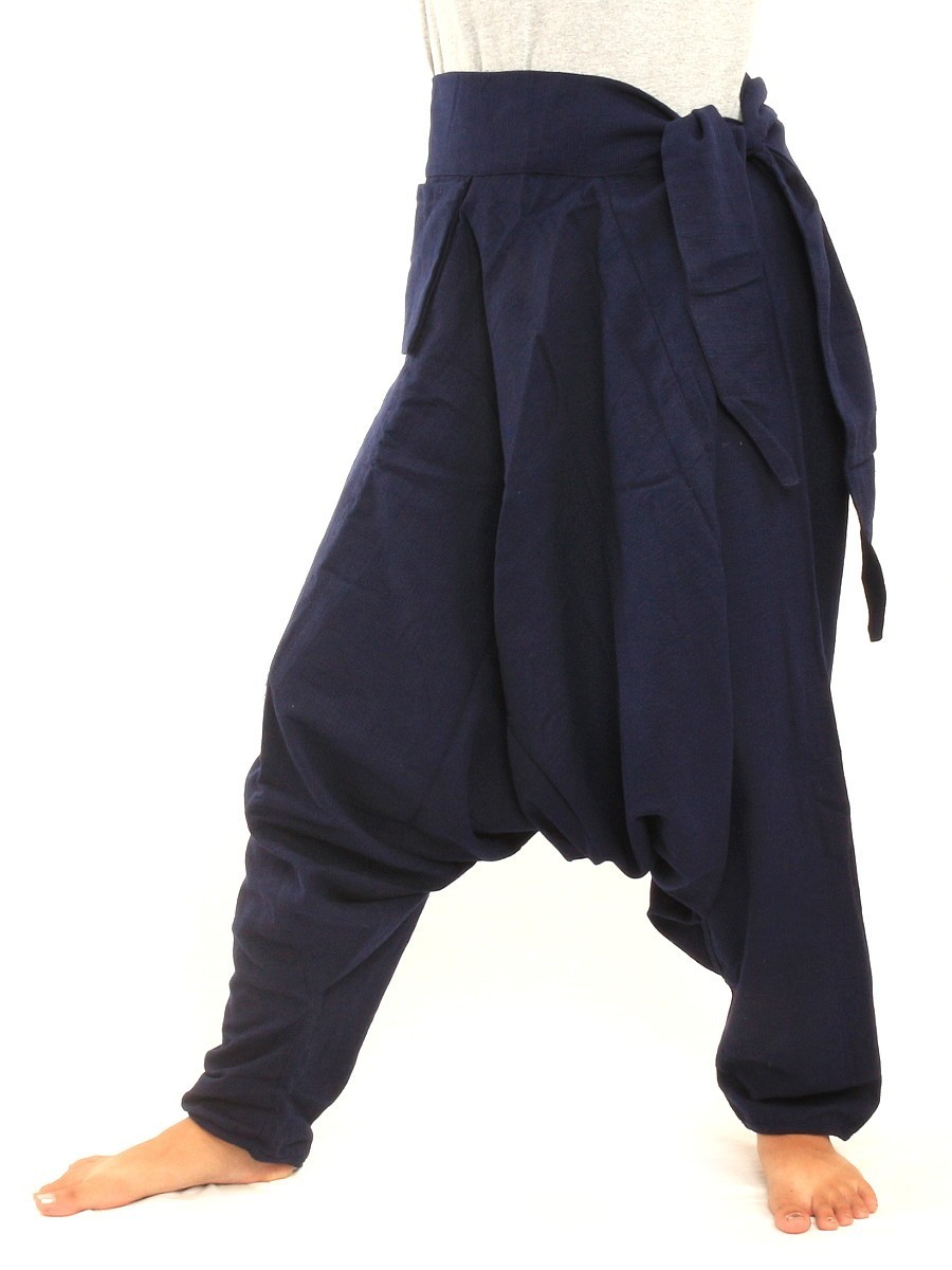 Low Cut Aladdin Harem Pants with Side Pocket    Dark Blue