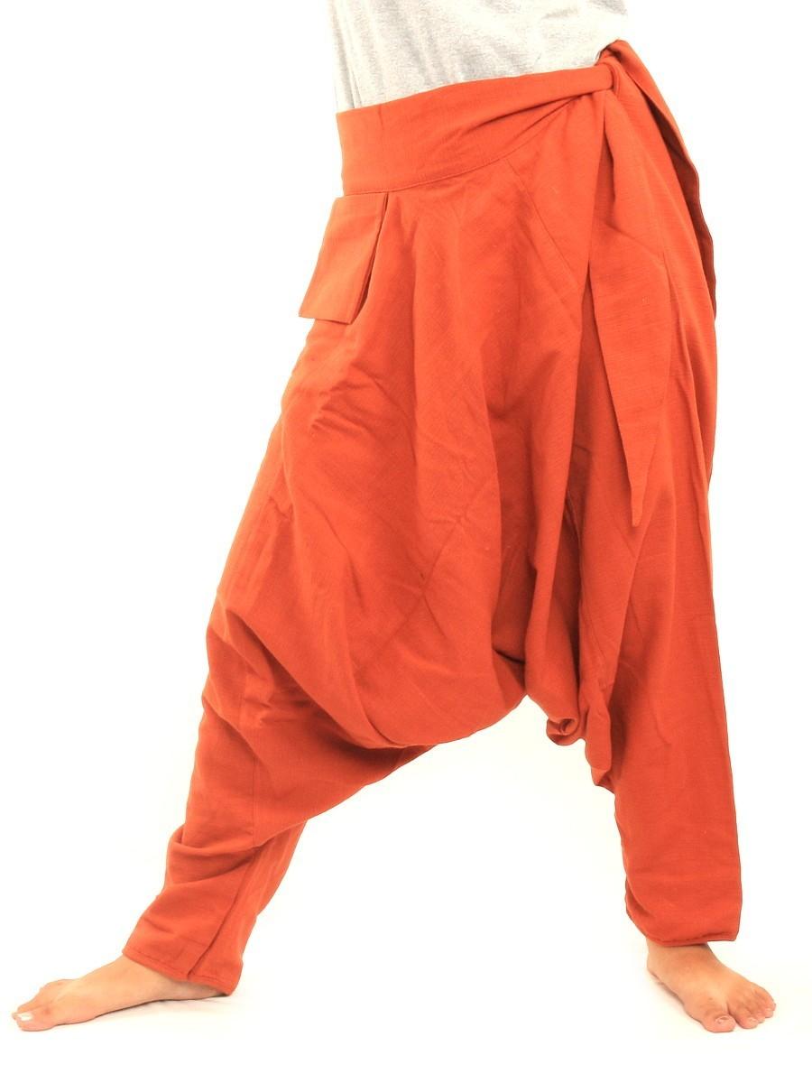 Low Cut Aladdin Harem Pants with Side Pocket    Orange