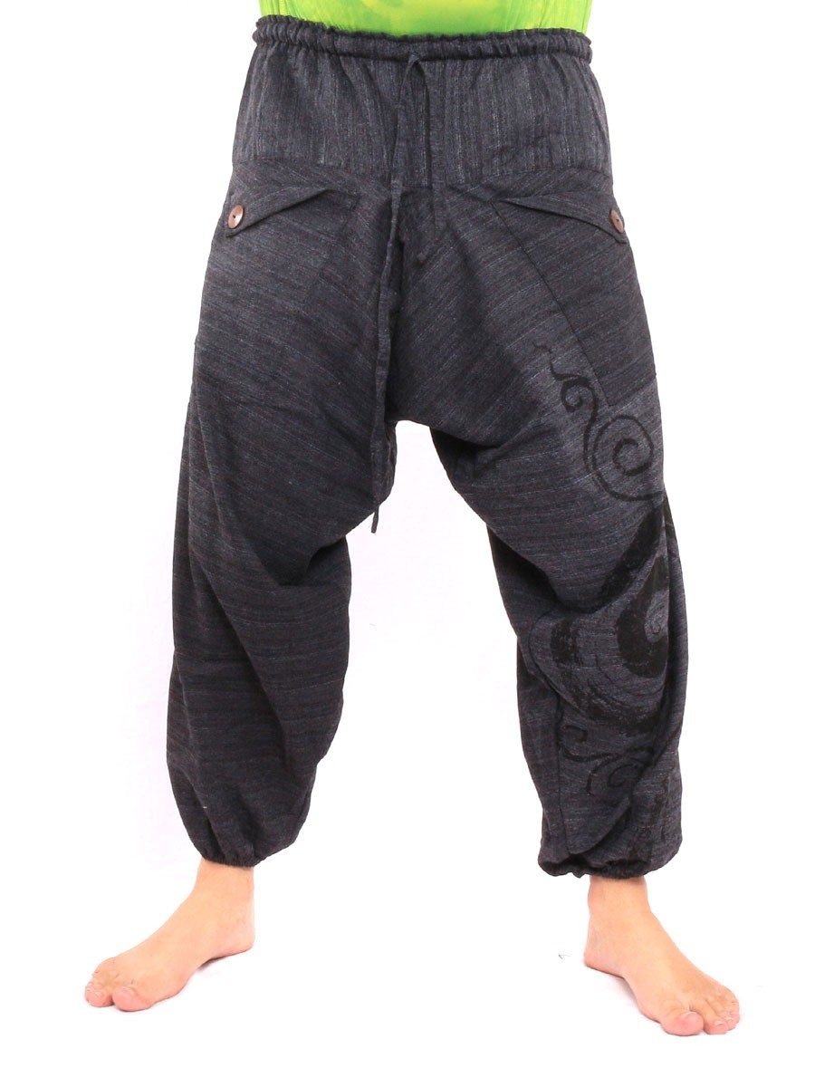 Harem Saruel Pants With Spiral Print  One Size Black
