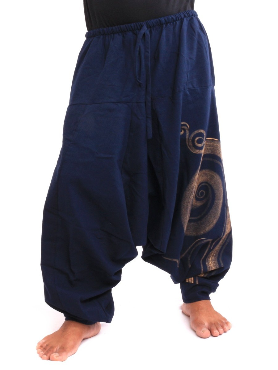 Harem Pants - Cotton With Spiral Print One Size Blue