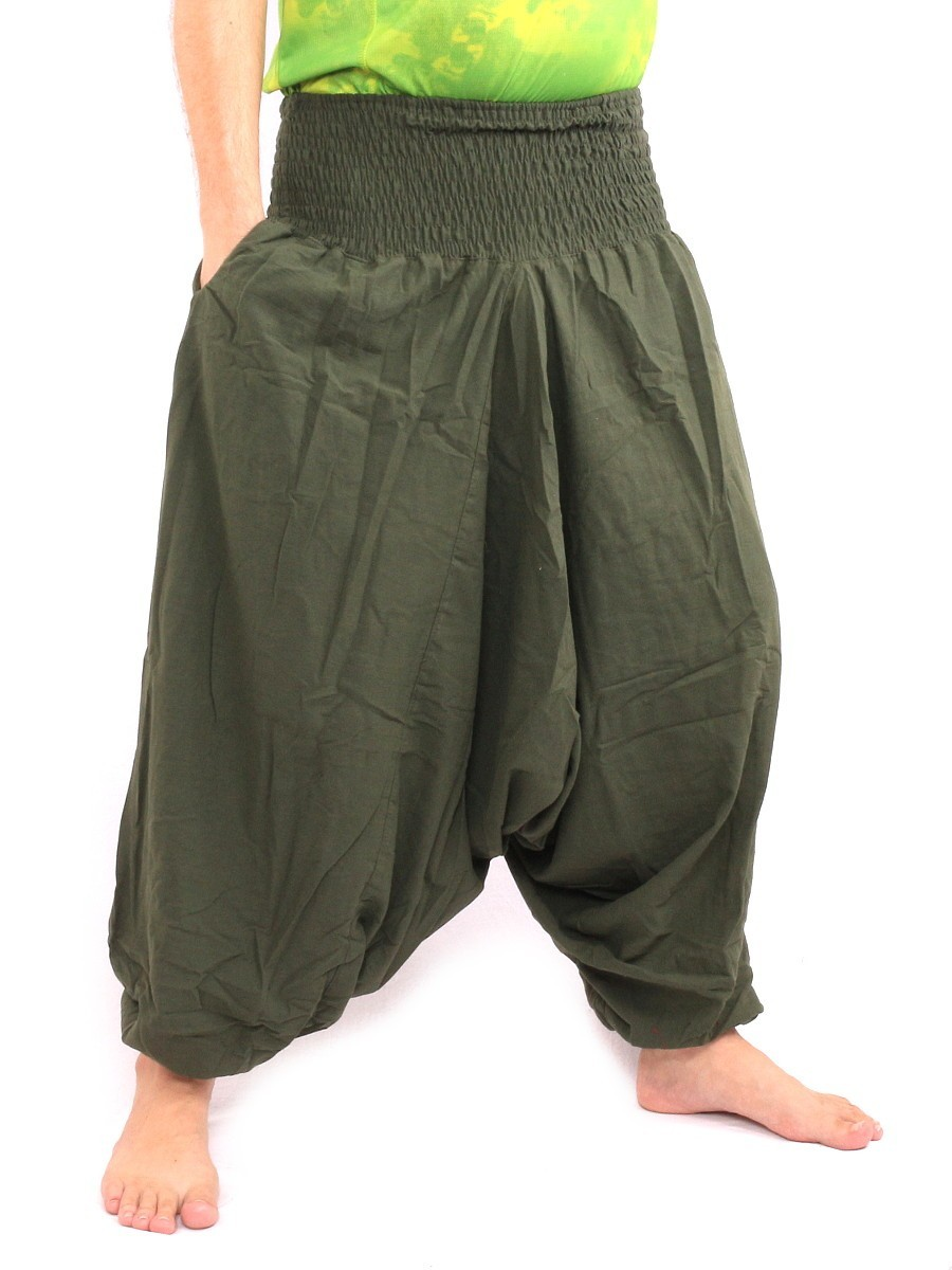 Harem Aladdin Baggy Pants One Size Smocked Wide Waist Cotton Green