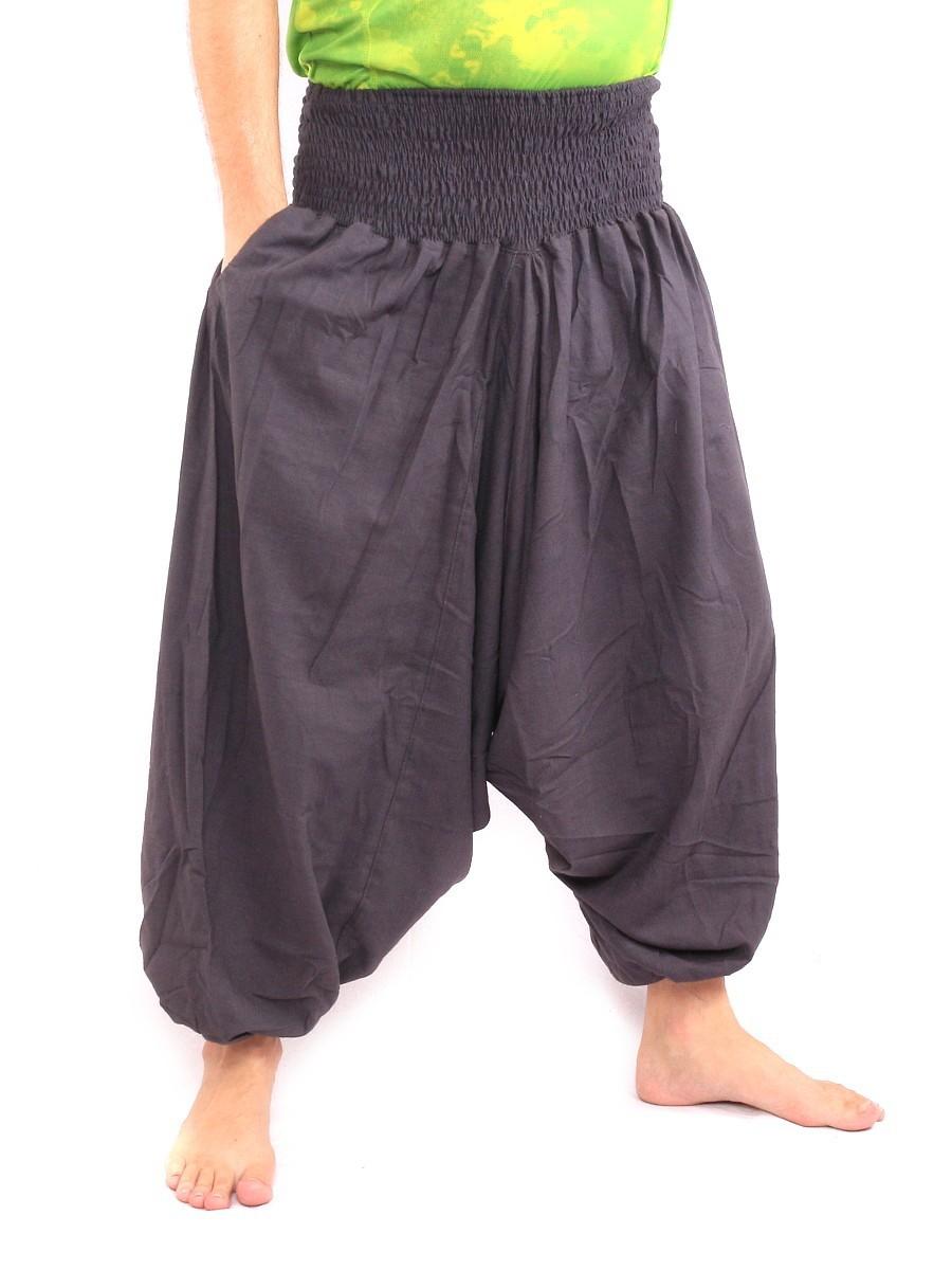 Harem Aladdin Baggy Pants One Size Smocked Wide Waist Cotton Aubergine