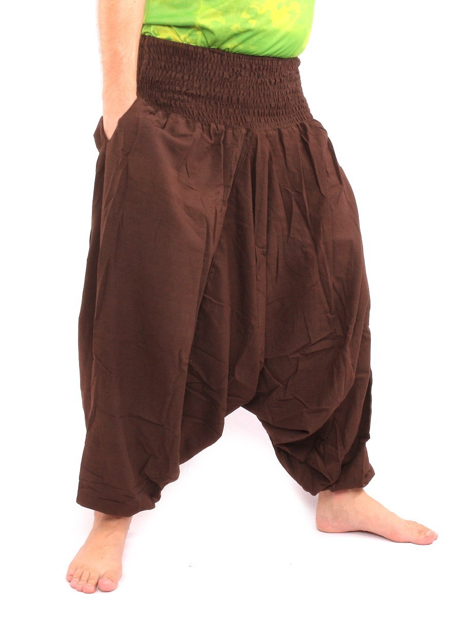 Harem Aladdin Baggy Pants One Size Smocked Wide Waist Cotton Brown