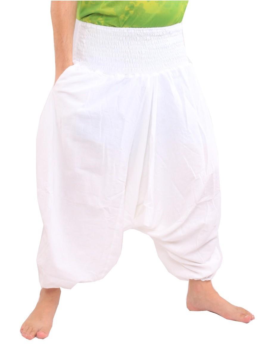 Harem Aladdin Baggy Pants One Size Smocked Wide Waist Cotton White