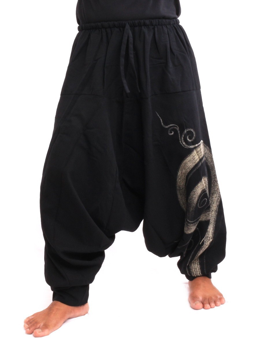 Harem Pants - Cotton With Spiral Print One Size Black