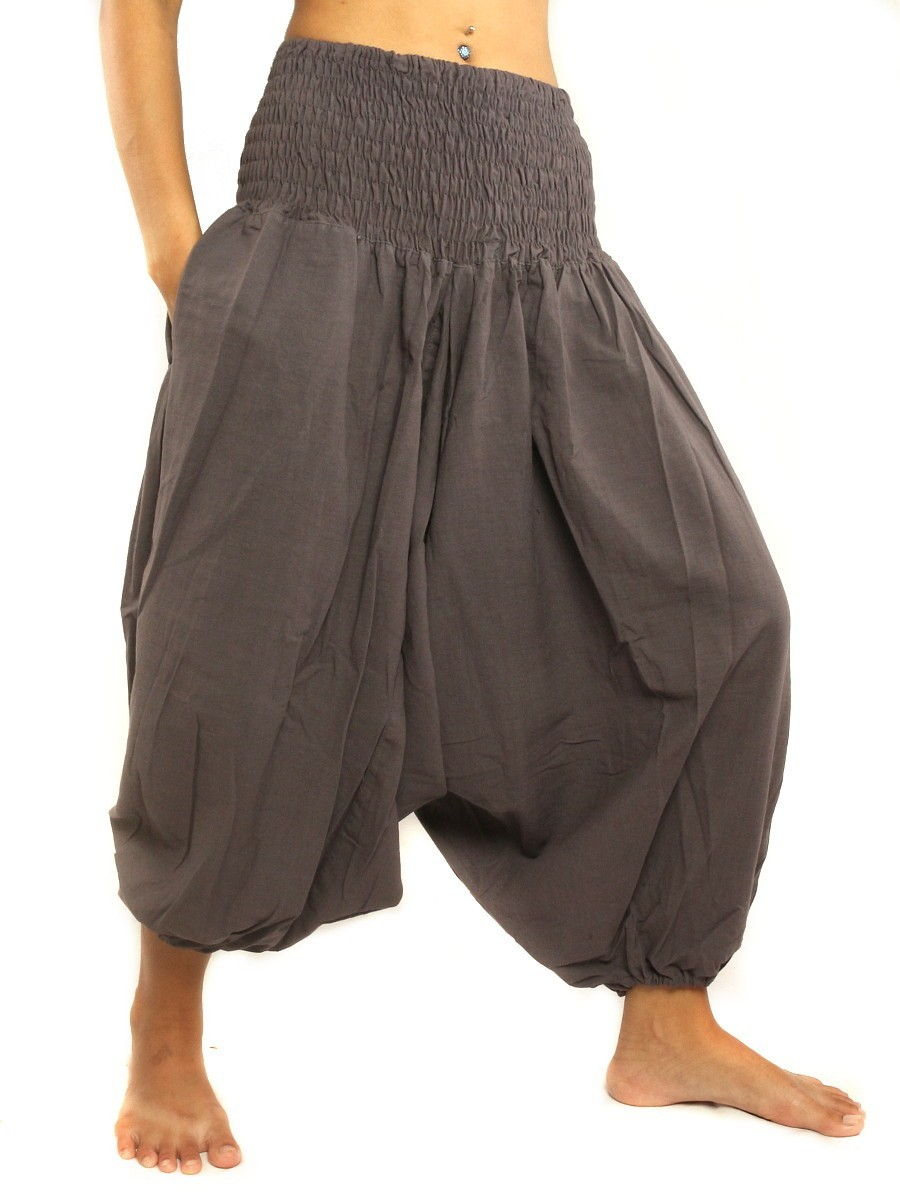 3/5 Length Harem Aladdin Baggy Pants One Size Cotton Aubergine