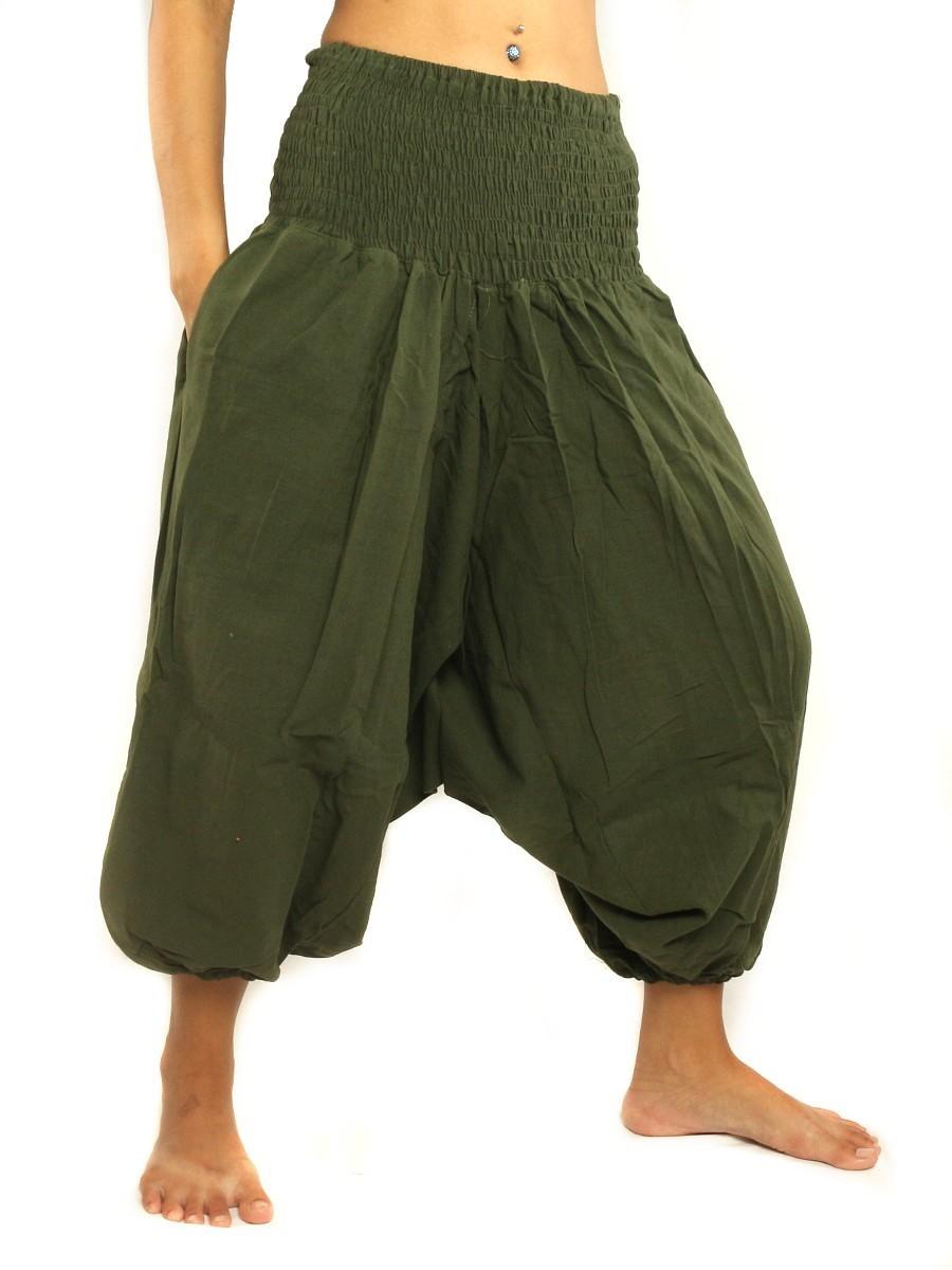 3/5 Length Harem Aladdin Baggy Pants One Size Cotton Green