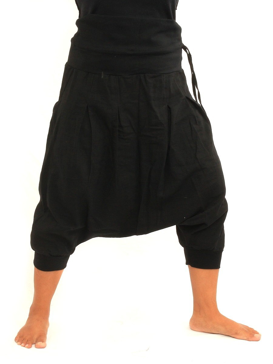 Harem Sarouel Shorts Two Back Pockets One Size Cotton Black