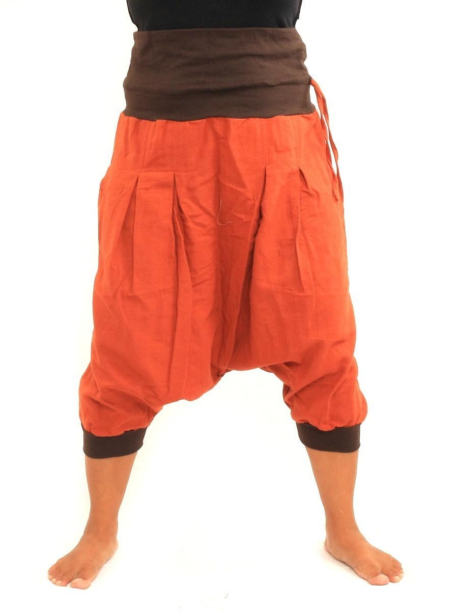 Harem Sarouel Shorts Two Back Pockets One Size Cotton Orange
