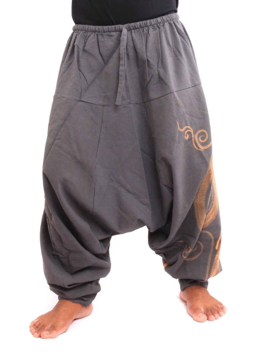 Harem Pants - Cotton With Spiral Print One Size Grey
