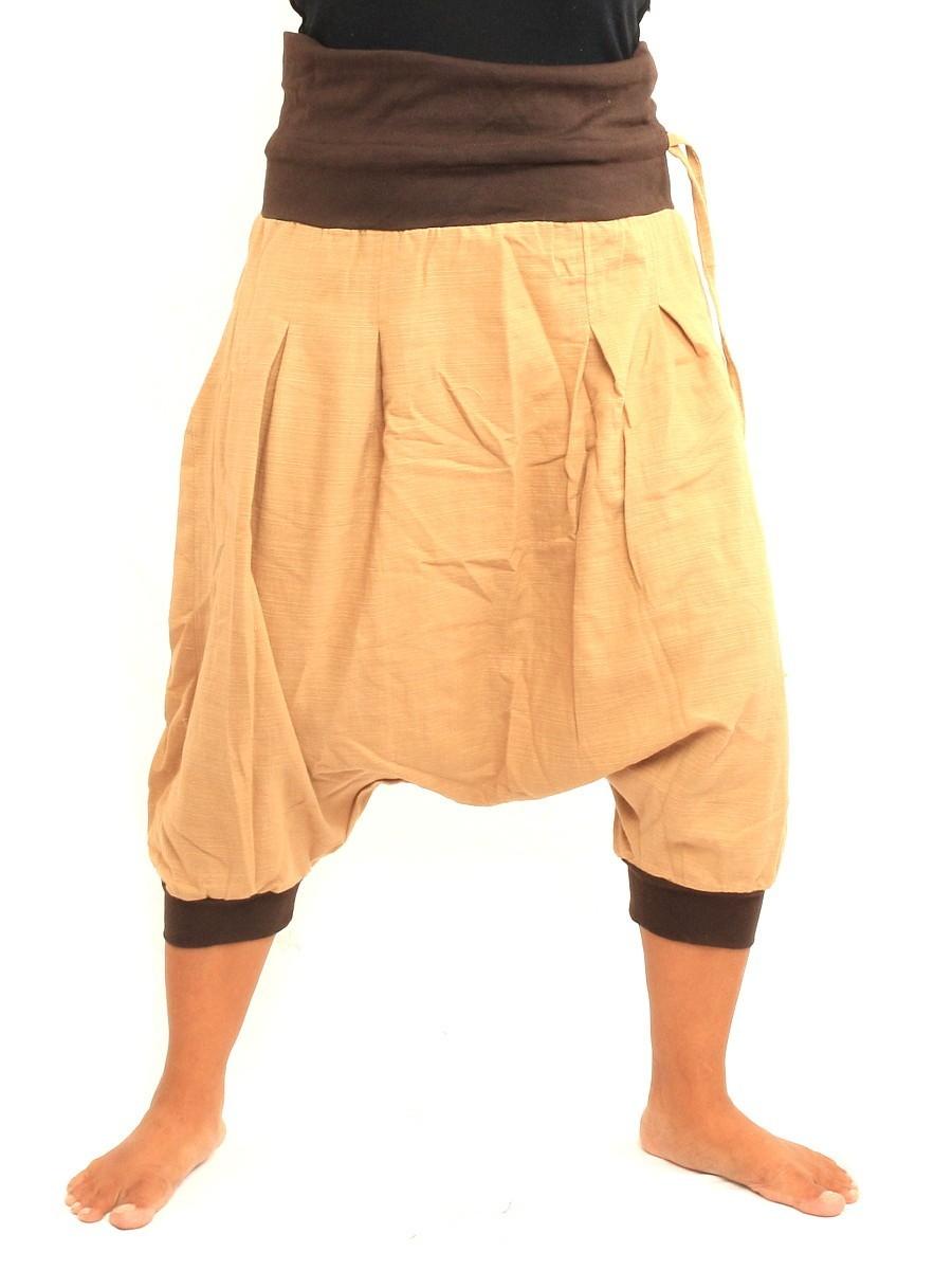 Harem Sarouel Shorts Two Back Pockets One Size Cotton Beige