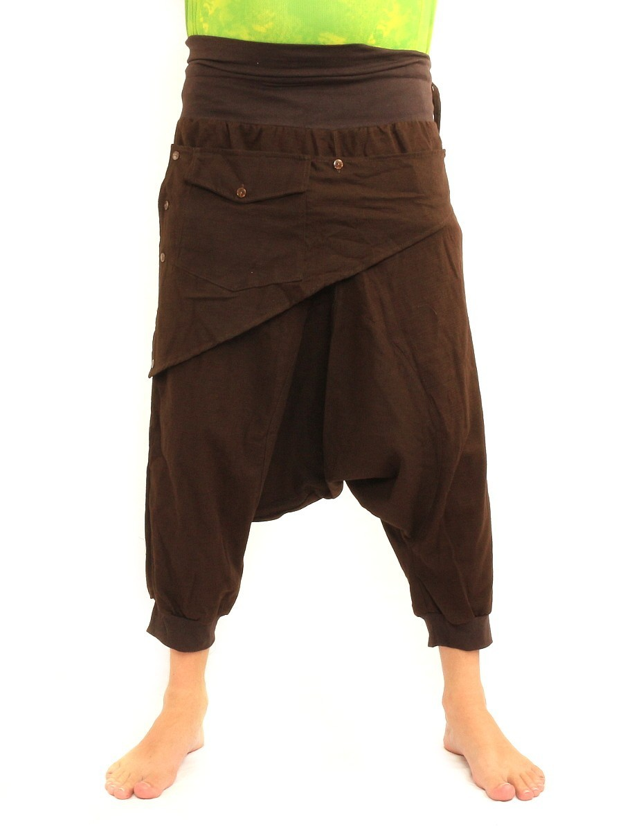 7/8 Length Harem Pants with Triangle Shaped Detachable Front Pocket Boho Hippie Cotton Brown