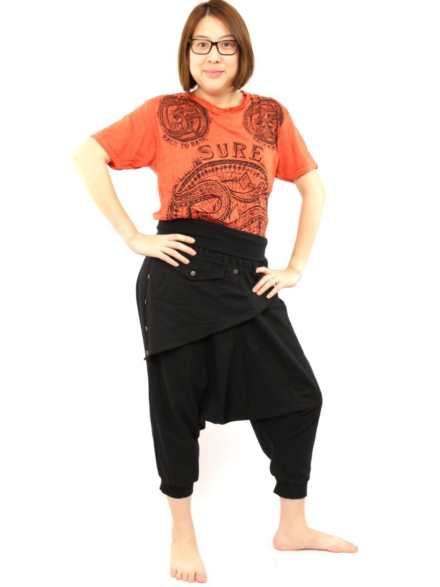 7/8 Length Harem Pants with Triangle Shaped Detachable Front Pocket Boho Hippie Cotton Black