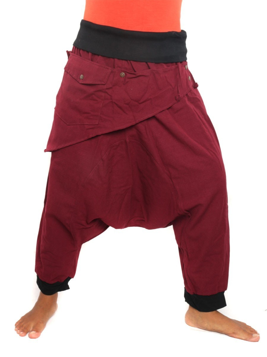 7/8 Length Harem Pants with Triangle Shaped Detachable Front Pocket Boho Hippie Cotton Red