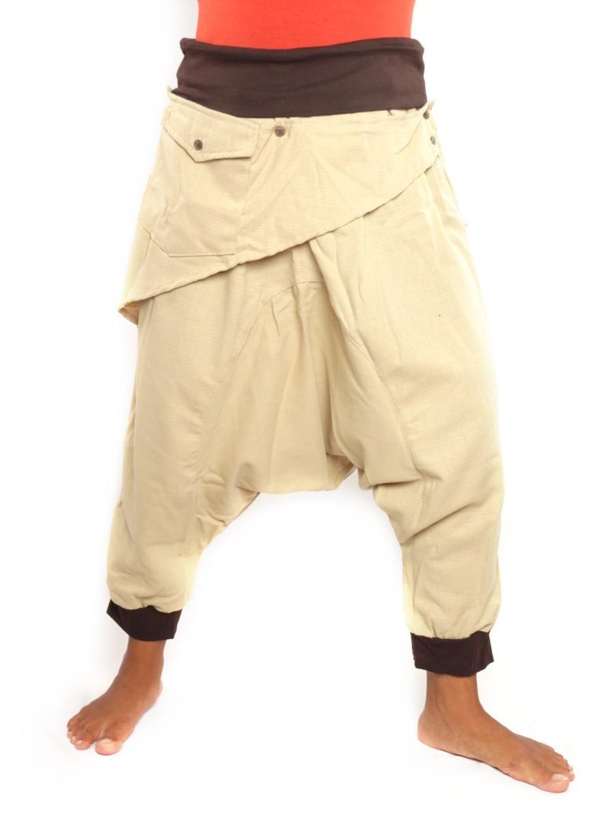 7/8 Length Harem Pants with Triangle Shaped Detachable Front Pocket Boho Hippie Cotton Beige