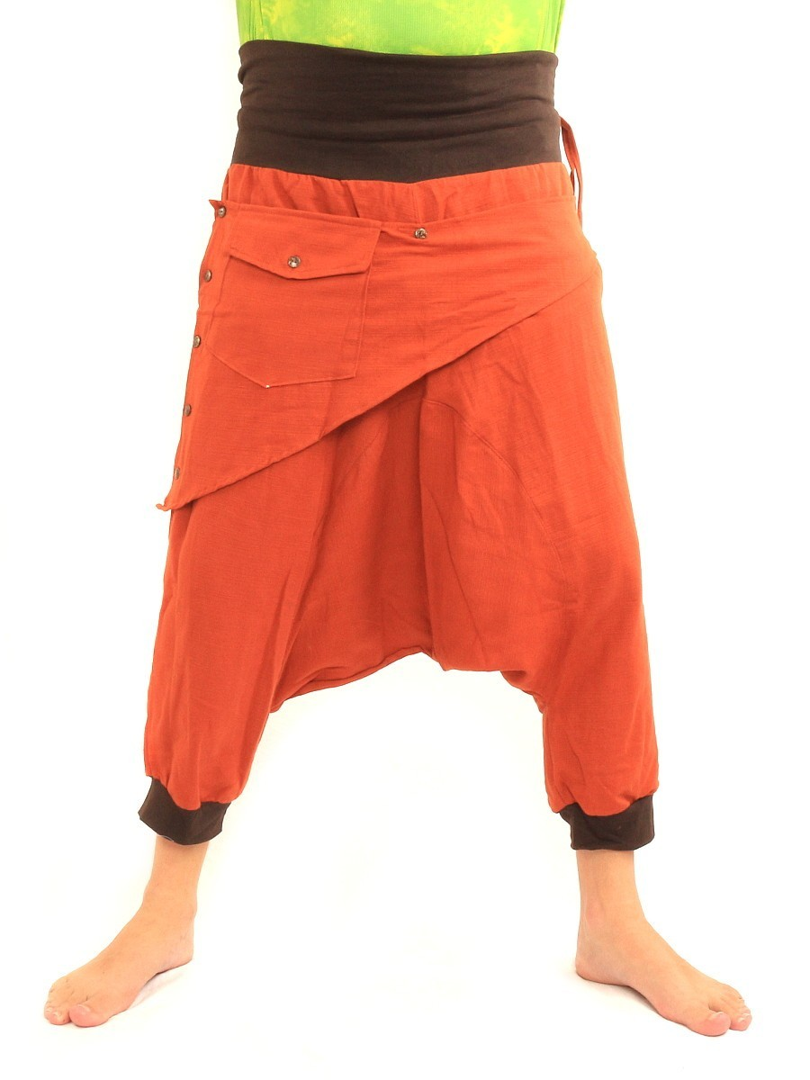 7/8 Length Harem Pants with Triangle Shaped Detachable Front Pocket Boho Hippie Cotton Orange