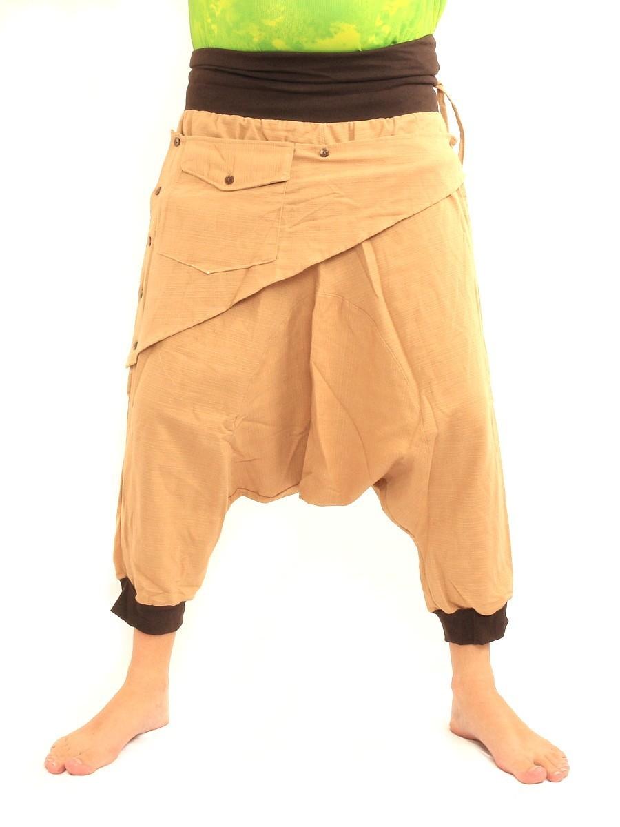 7/8 Length Harem Pants with Triangle Shaped Detachable Front Pocket Boho Hippie Cotton Khaki