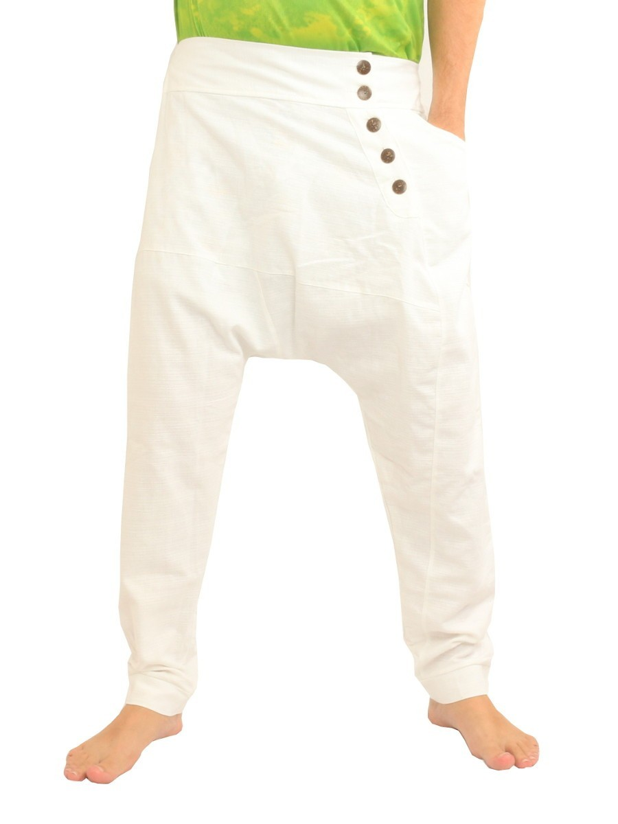 Harem Pants / Solid Color / Tapered Legs with Elastic Waist Cotton White