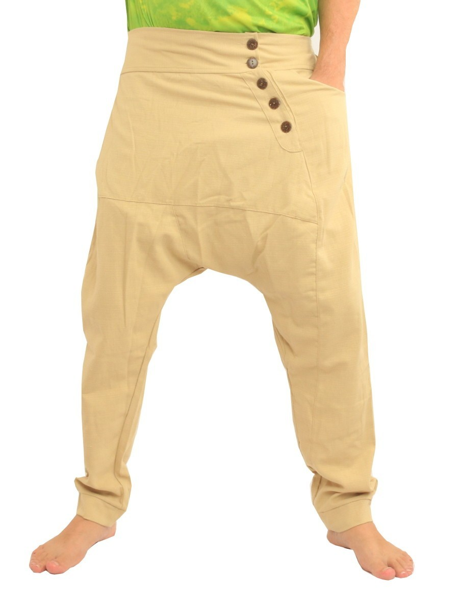 Harem Pants / Solid Color / Tapered Legs with Elastic Waist Cotton Khaki