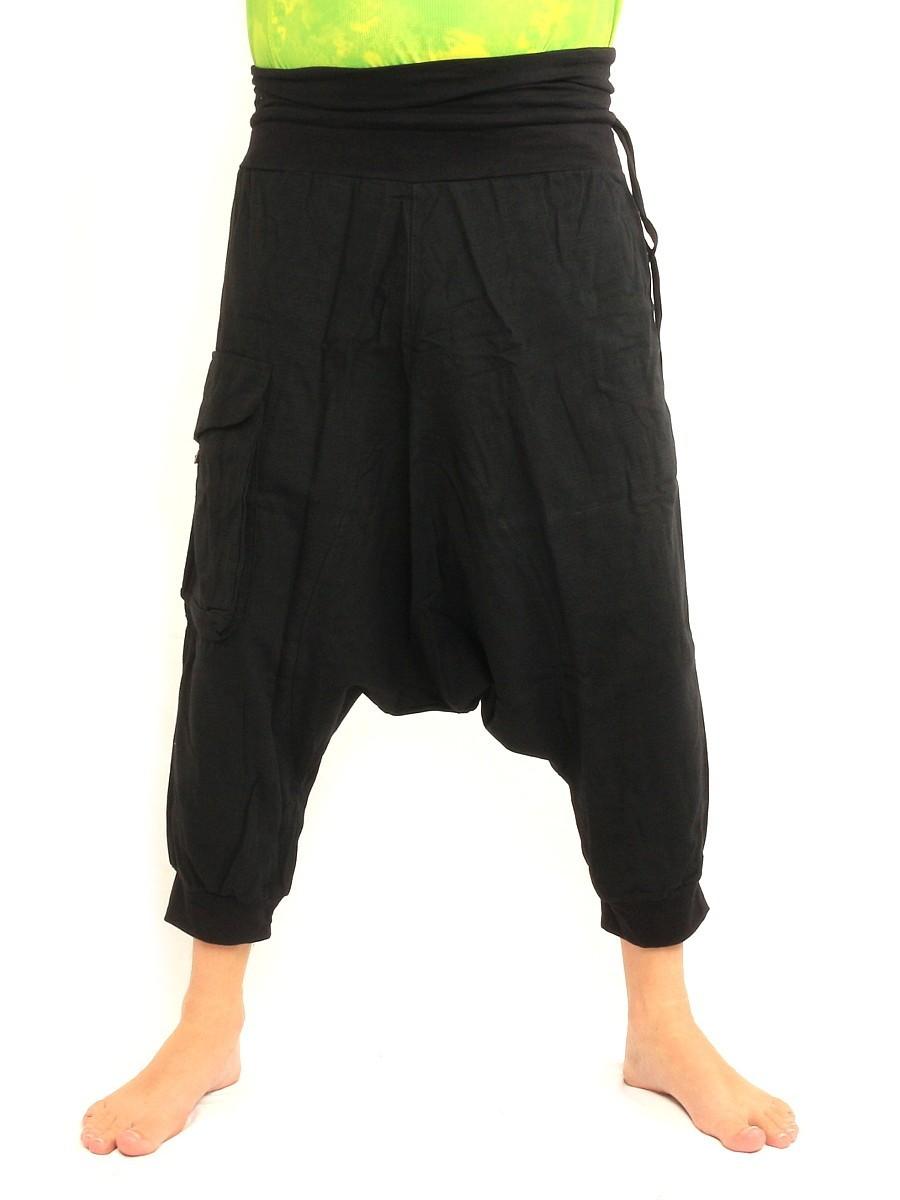 7/8 Length Short Harem Pants with Large Side Pocket Boho Hippie Cotton Black