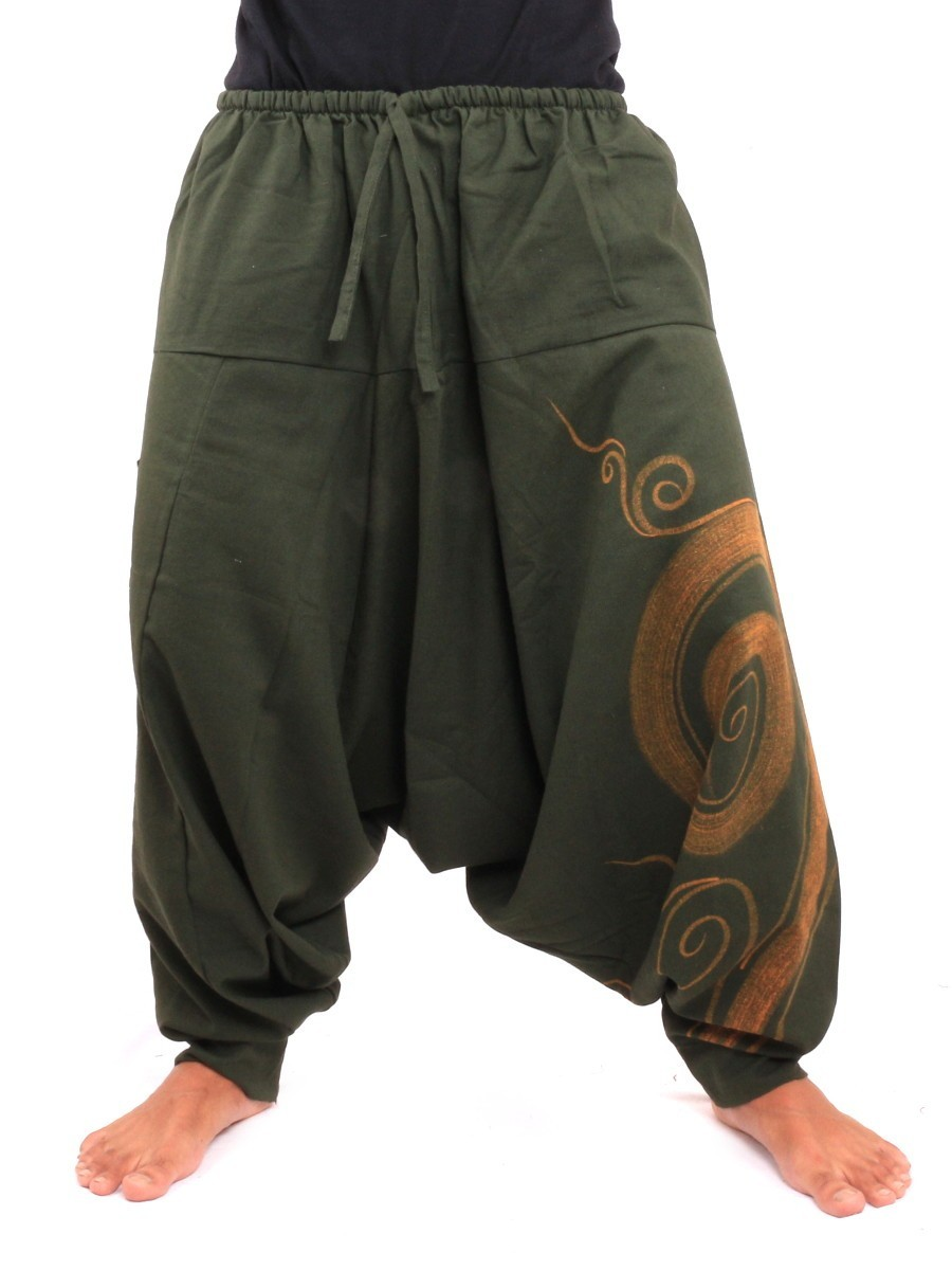 Harem Pants - Cotton With Spiral Print One Size Green