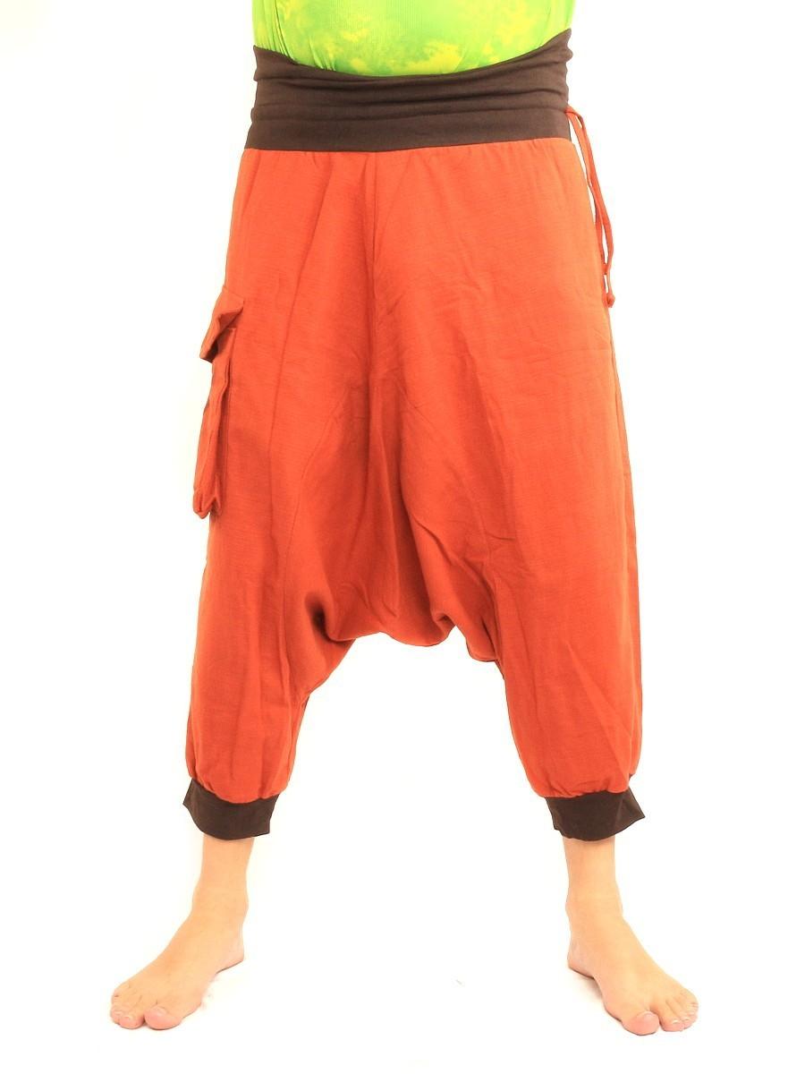 7/8 Length Short Harem Pants with Large Side Pocket Boho Hippie Cotton Orange