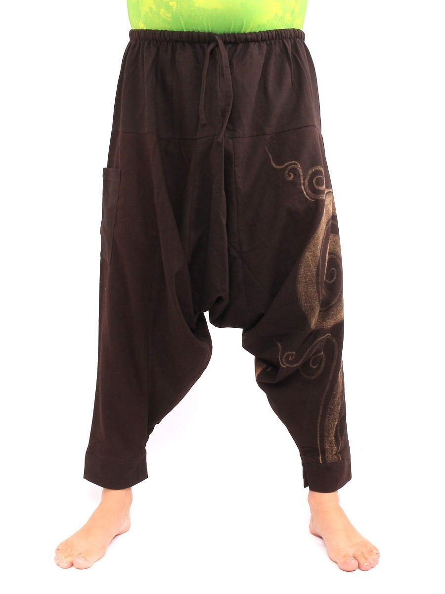 Harem Pants - Cotton With Spiral Print One Size Brown
