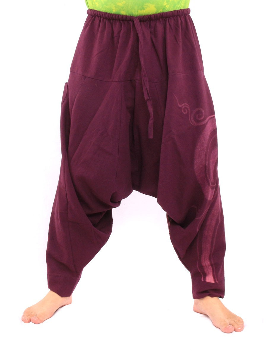Harem Pants - Cotton With Spiral Print One Size Purple