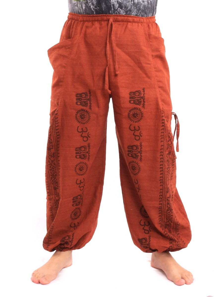 Harem Pants - Ethnic Pattern Print One Size Orange
