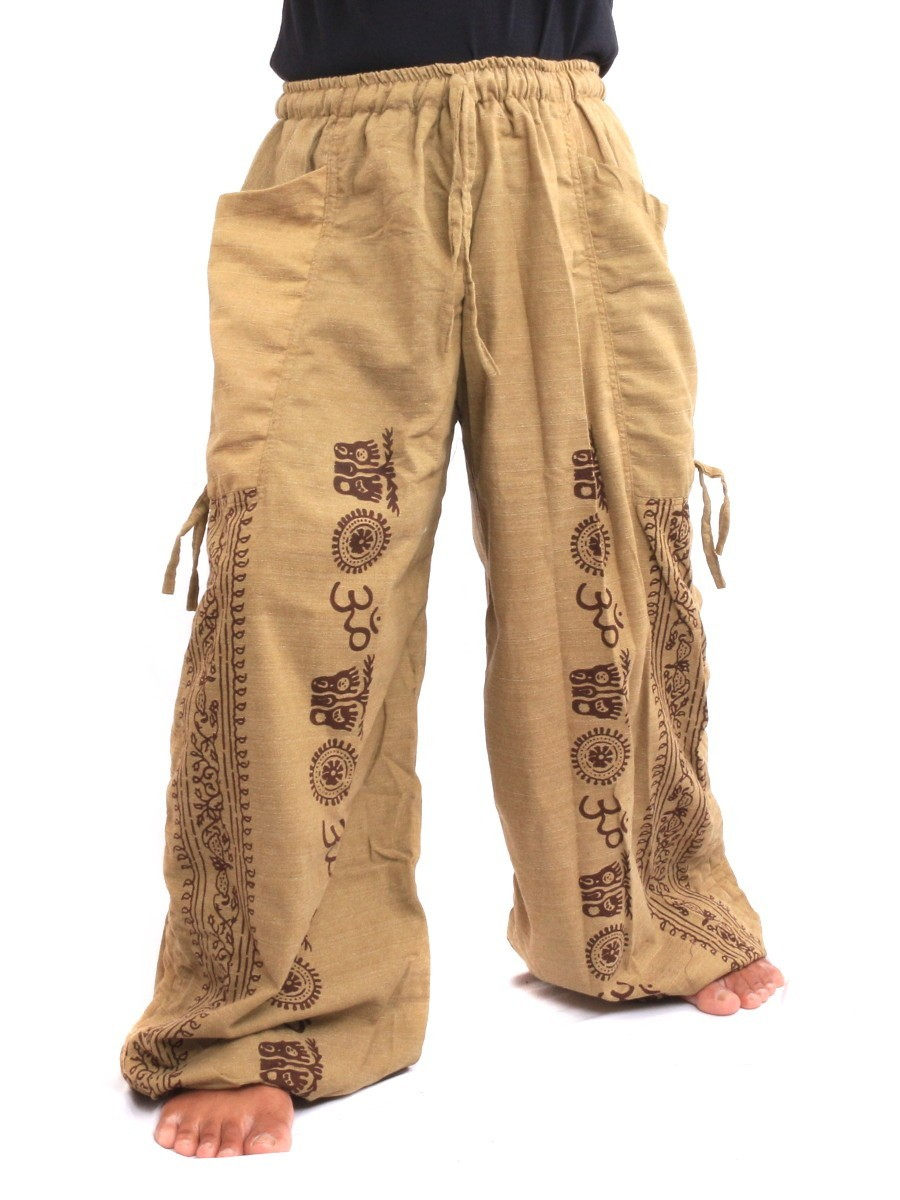 Harem Pants - Ethnic Pattern Print One Size Beige