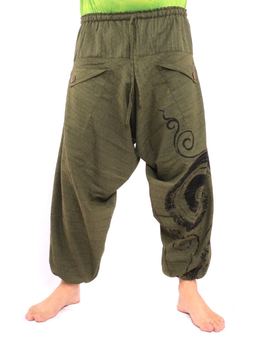 Harem Saruel Pants With Spiral Print  One Size Green
