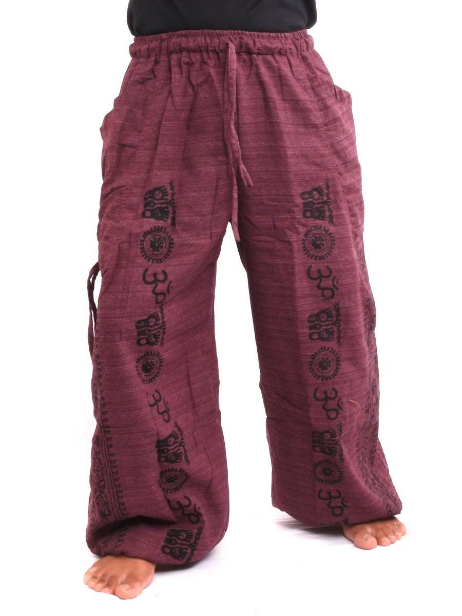 Harem Pants - Ethnic Pattern Print One Size Purple
