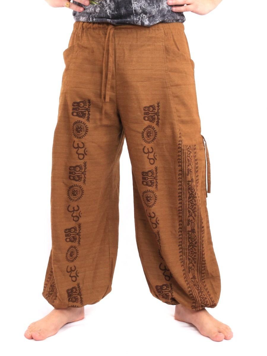 Harem Pants - Ethnic Pattern Print One Size Beige