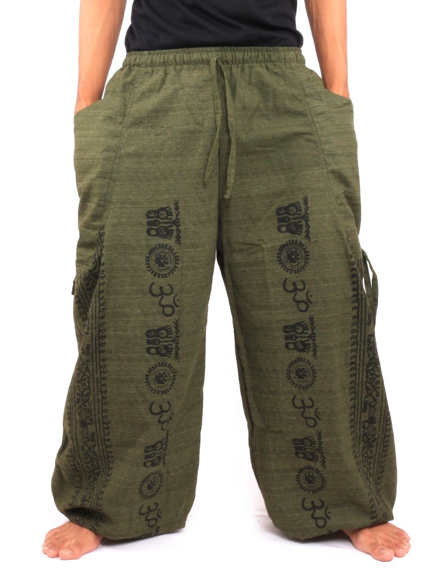 Harem Pants - Ethnic Pattern Print One Size Green