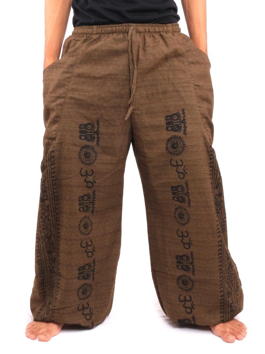 Harem Pants - Ethnic Pattern Print One Size Brown