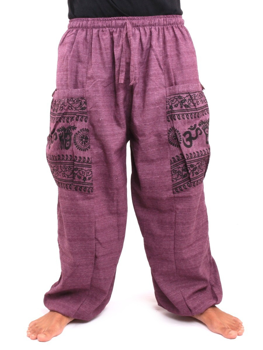 High Cut Thai Harem Pants With Large Side Pockets One Size Purple