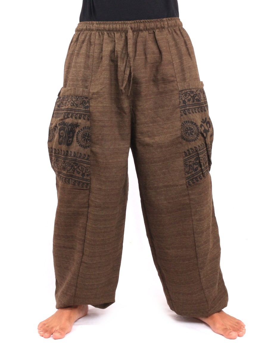 High Cut Thai Harem Pants With Large Side Pockets One Size Brown