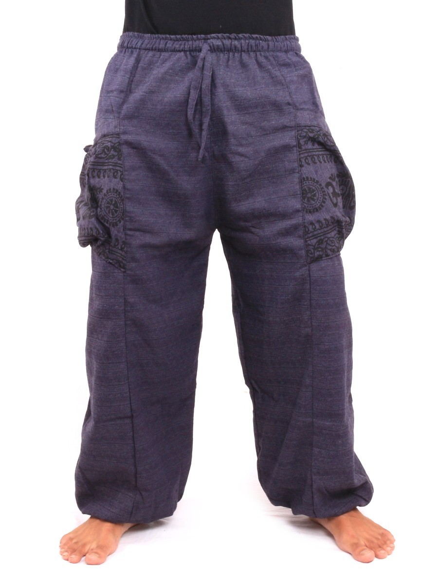 High Cut Thai Harem Pants With Large Side Pockets One Size Blue