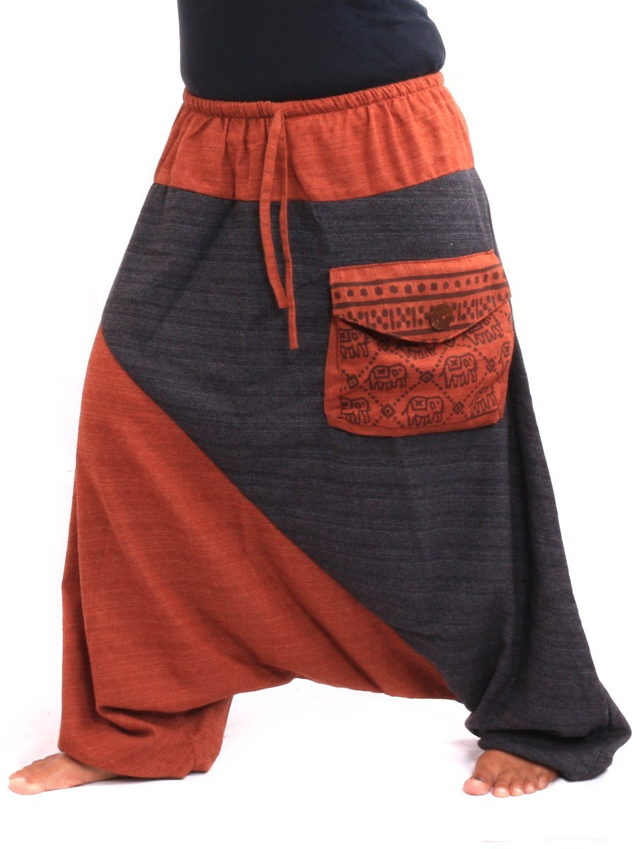 Aladdin Baggy Pants With Large Side Pocket And Elefant Print One Size Multi