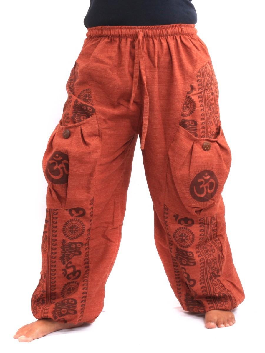 Harem Pants Floral Ethnic Print One Size Orange