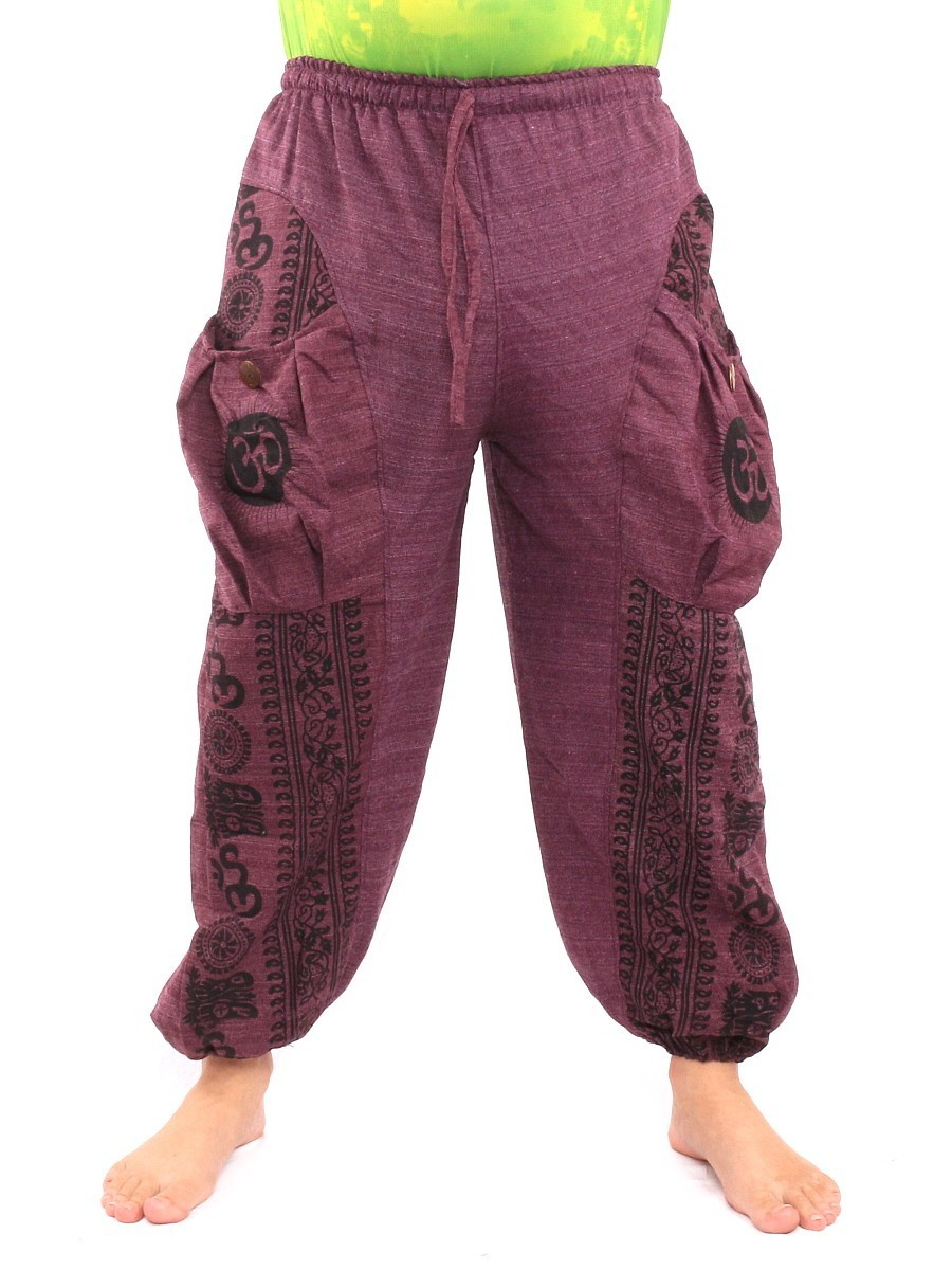 Harem Pants Floral Ethnic Print One Size Purple