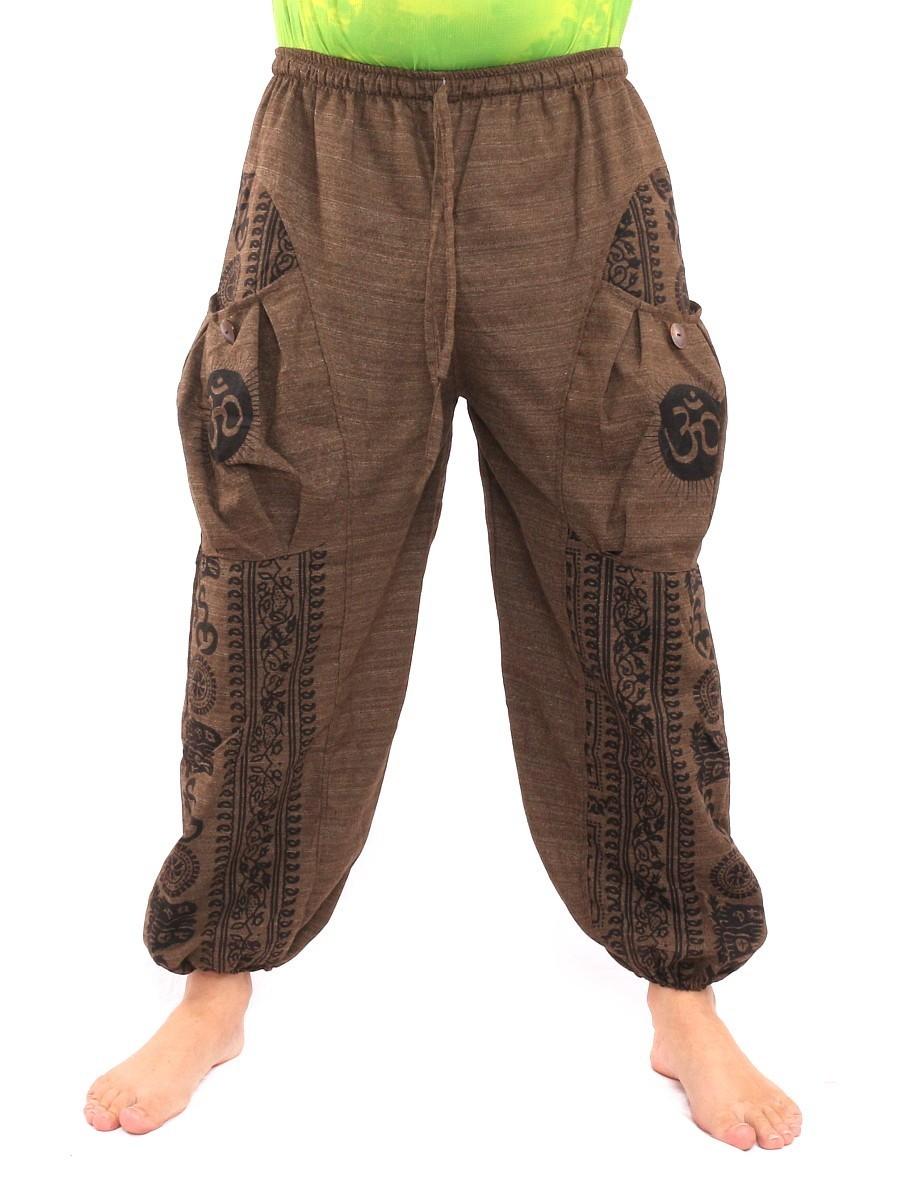 Harem Pants Floral Ethnic Print One Size Brown