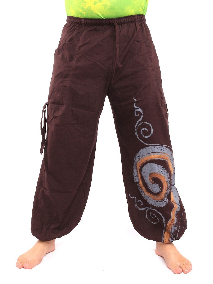 Harem Balloon Pants Spiral Design One Size Brown